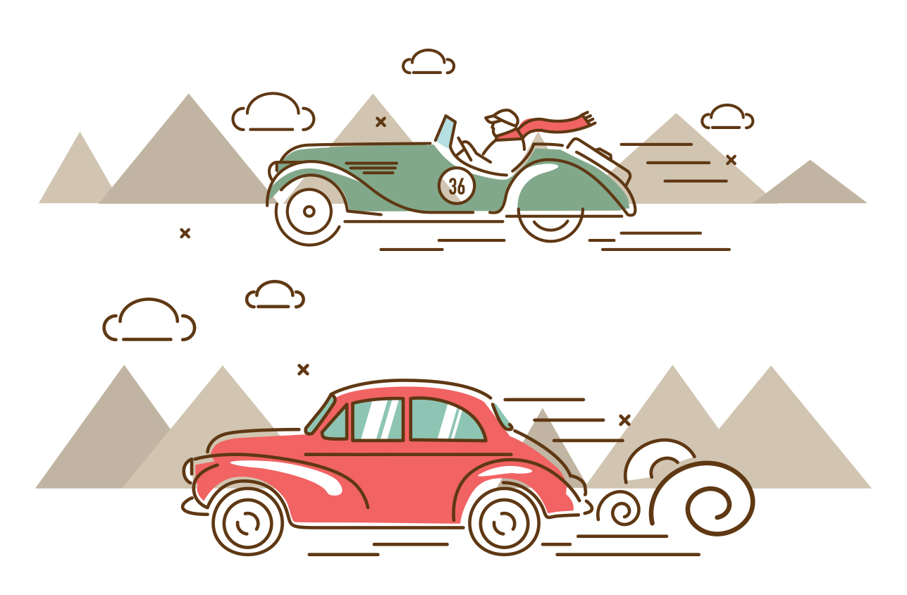 Oldtimer Rallye Illustration